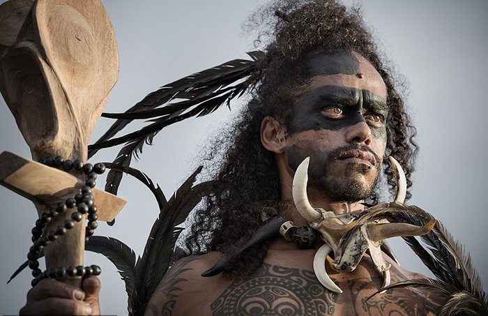 Мужчина с Маркизских островов во Французской Полинезии.